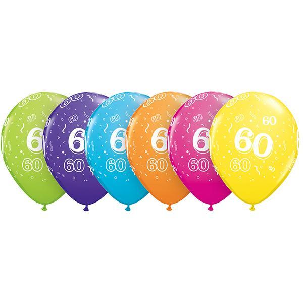 Zahl 60 Tropical bedruckter Ballon