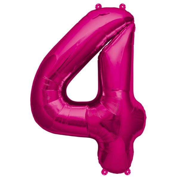 Zahl 4 Folienballon pink