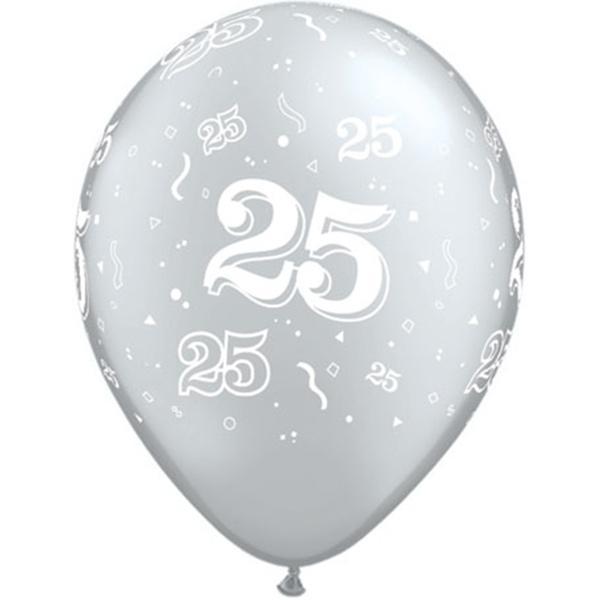 Zahl 25 Silver bedruckter Ballon