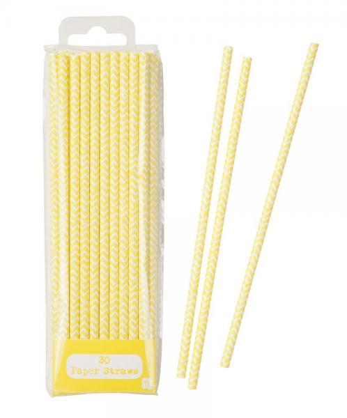 Papierstrohhalme gelb/weiß