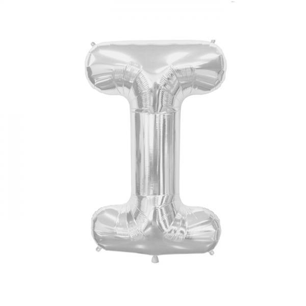 Buchstabe I Folienballon Silber
