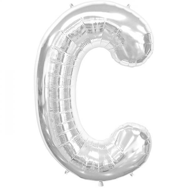 Buchstabe C Folienballon Silber XXL