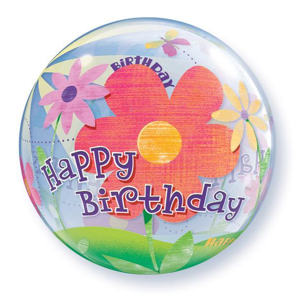 Birthday Funky Flowers Bubble Ballon