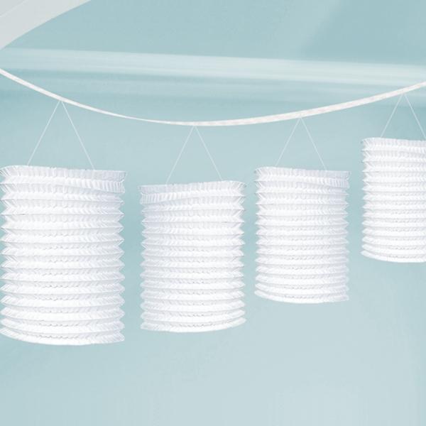 Girlande Papierlaternen Weiß