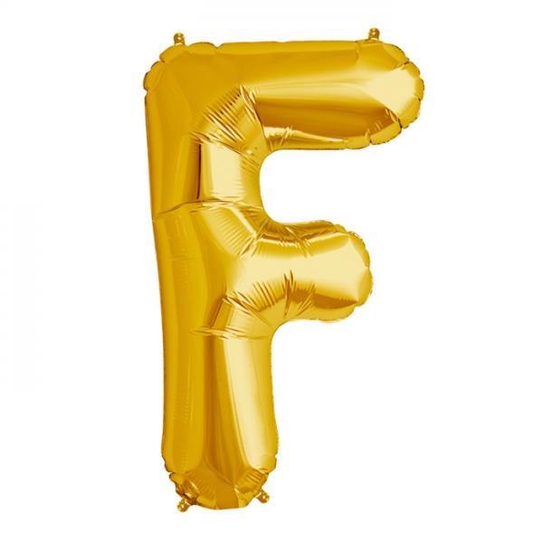 Folienballon Zahl F Gold