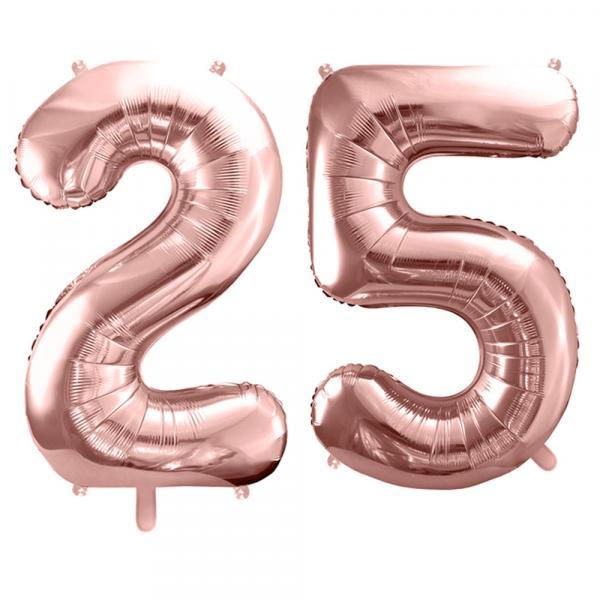 Zahlenset Rosegold 25 Ballons