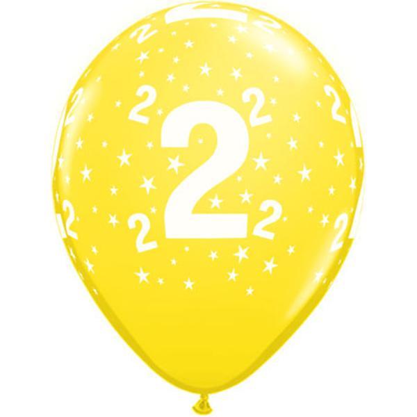 Zahl 2 Stars Festive bedruckter Ballon