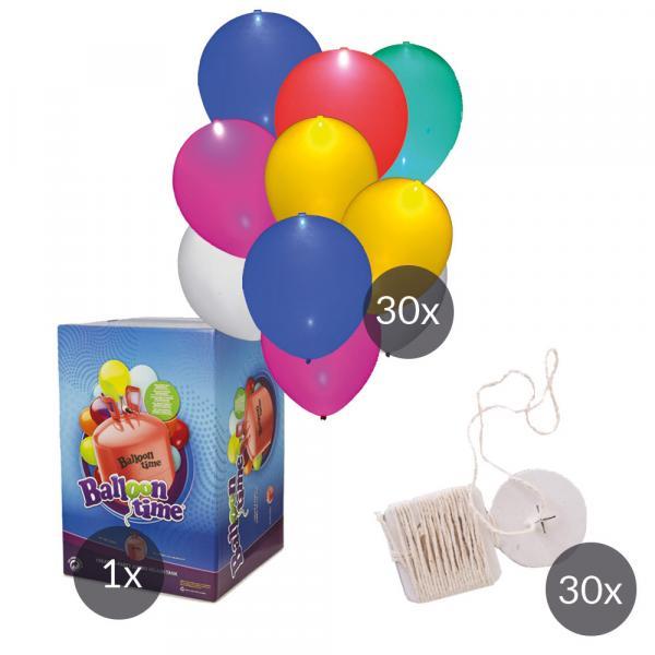 LED Luftballon SET 30 mit Helium und Ökobändern