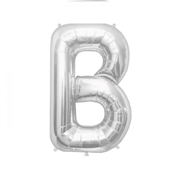 Buchstabe B Folienballon Silber
