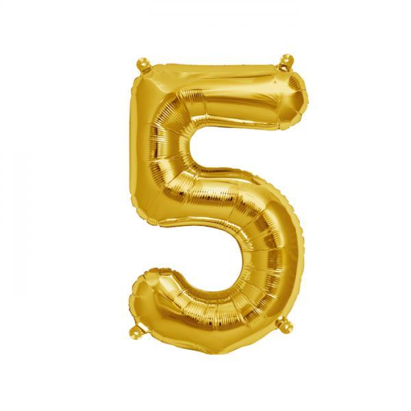 Zahl 5 Folienballon gold
