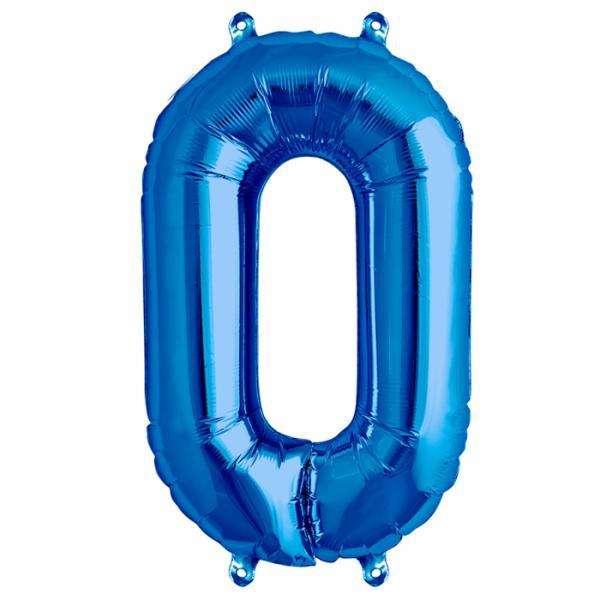 Zahl 0 Folienballon blau
