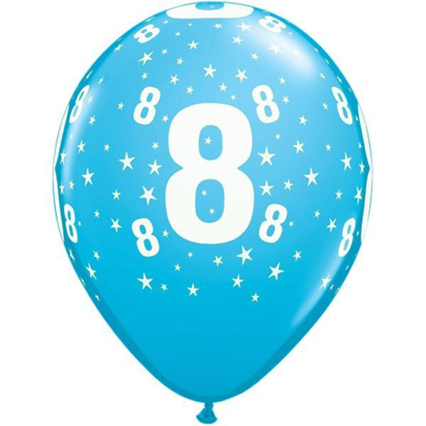 Zahl 8 Stars Festive bedruckter Ballon