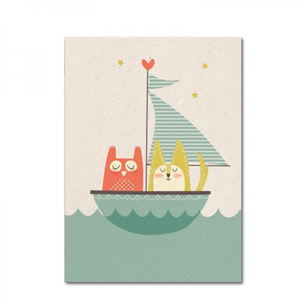 Postkarte Paper and Cloth: Eule und Katze