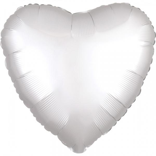 Ballon Herz Chrome Weiss