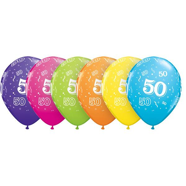 Zahl 50 Tropical bedruckter Ballon