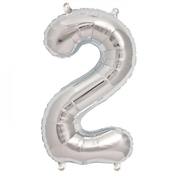 Zahl 2 Folienballon silber