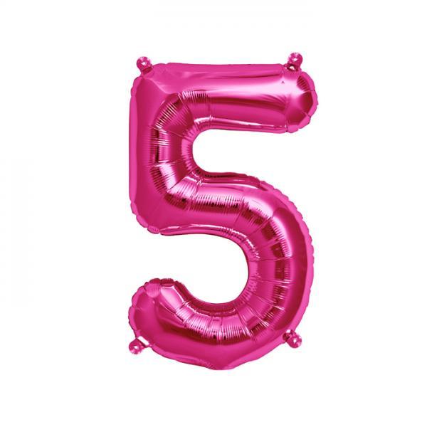 Zahl 5 Folienballon pink