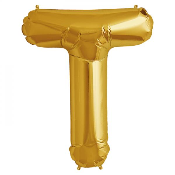 Folienballon Zahl T Gold