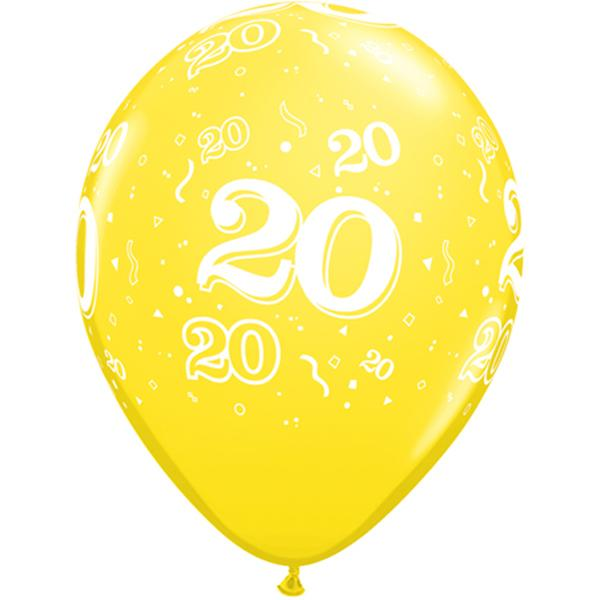 Zahl 20 Luftballon Gelb
