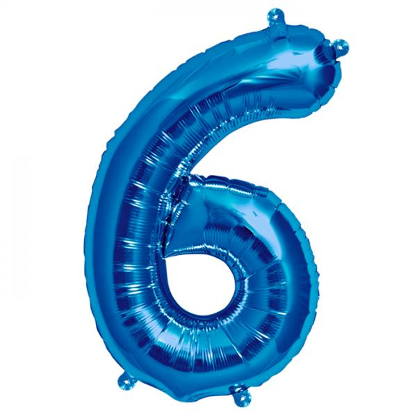 Zahl 6 Folienballon blau