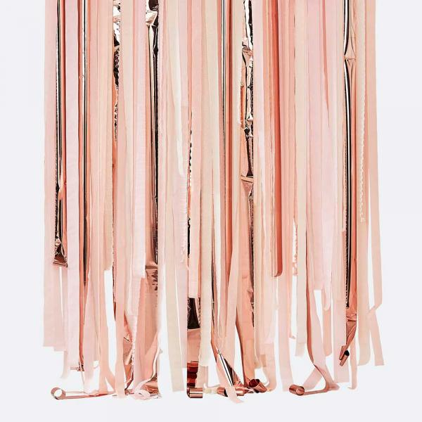 Hanging Streamer Backdrop Rosa Rosegold
