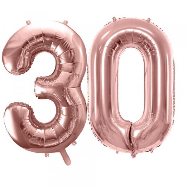 Zahlen-Set-30-Rosegold Ballons