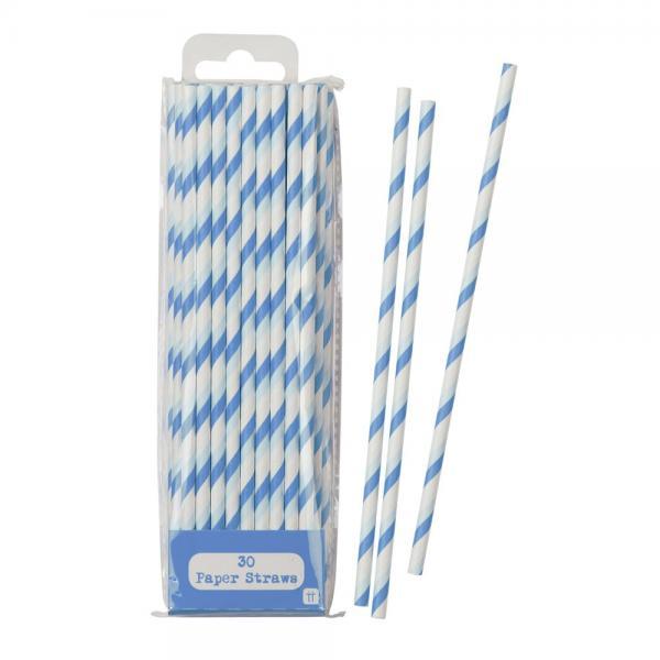Papierstrohhalme blau/weiß