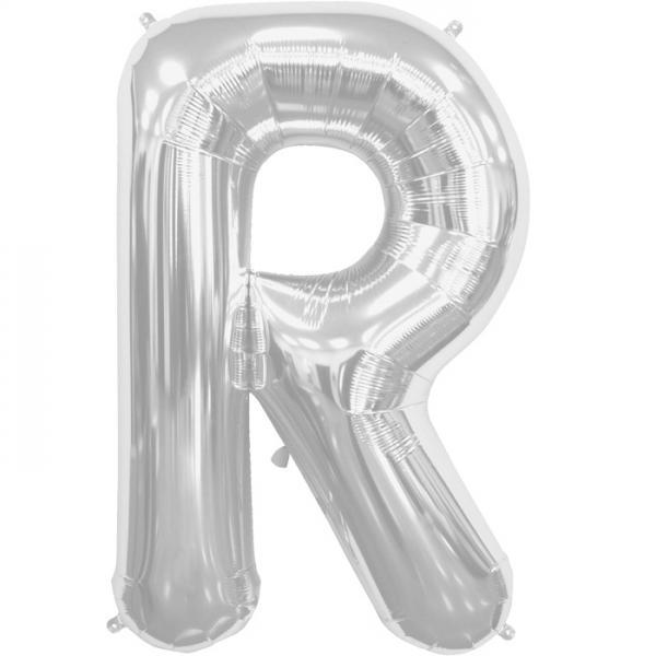 Buchstabe R Folienballon Silber XXL