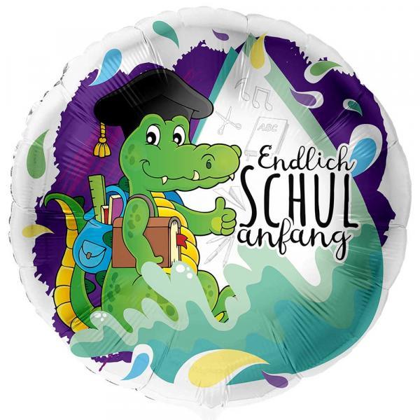 Krokodil Endlich Schulanfang Folienballon